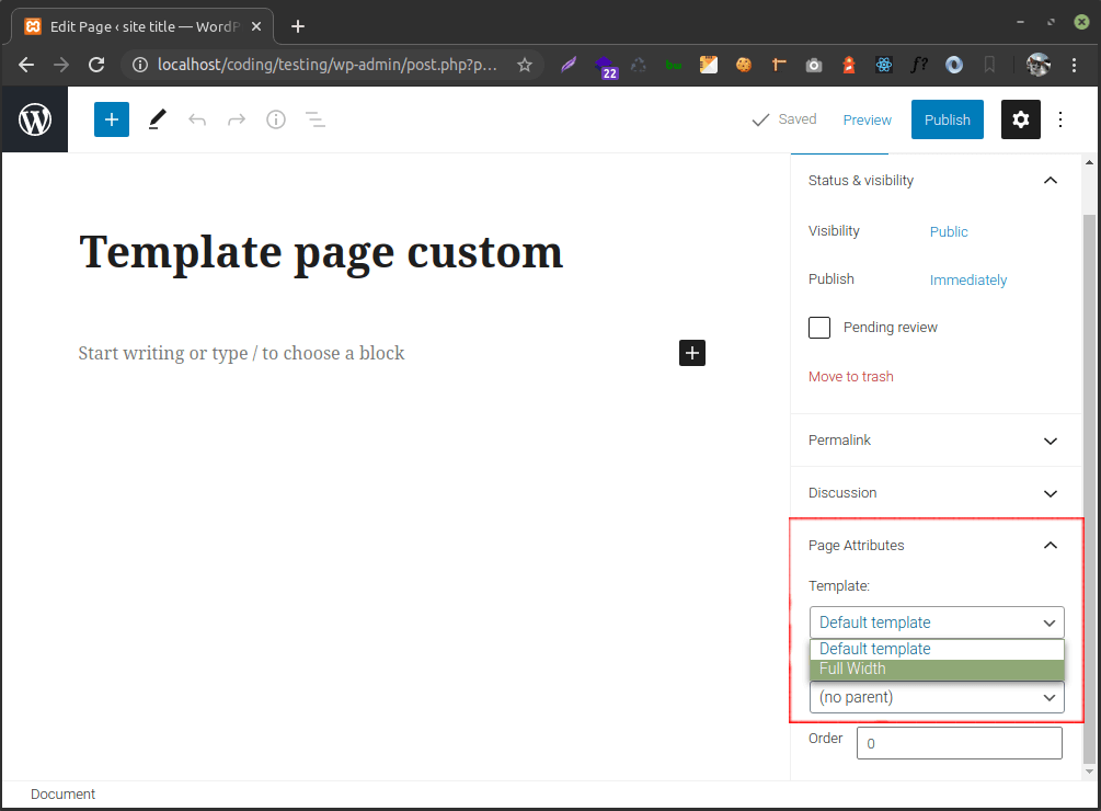 template page custom global posts